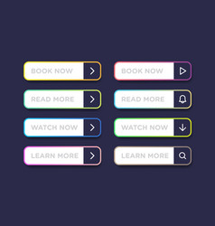 set of colorful clean style buttons modern vector image
