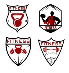 set of fitness labels vector image