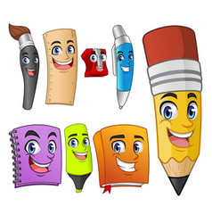 set of funny cartoon characters school items vector image