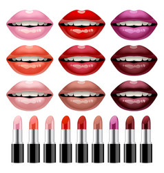 set of lipsticks and womans glossy lips in vector image