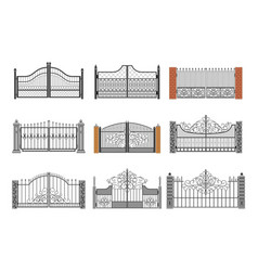 set ornamental forged gates flat vector image