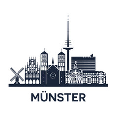 skyline emblem of munster city in north rhine vector image