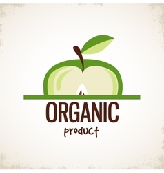sliced apple icon organic product vector image