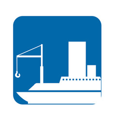 square blue button with silhouette cargo ship vector image