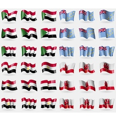 Sudan tuvalu egypt gibraltar set of 36 flags of vector