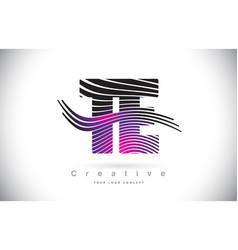 Te t e zebra texture letter logo design with vector