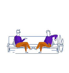 two businessmen communication relaxing sofa vector image