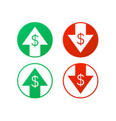 up and down dollar sign on white background stock vector image