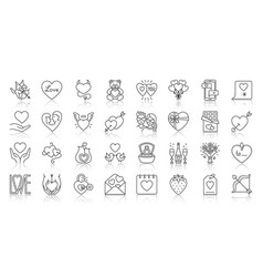 valentines day simple black line icons set vector image