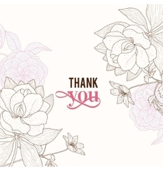 Vintage Pink Brown Frame Floral Drawing vector image