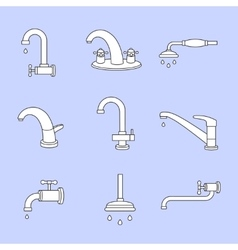 Water tap or faucet line icons Plumbing and vector