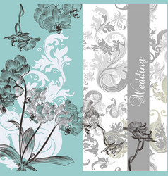 Wedding background with orchids vector