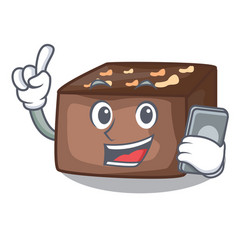 With phone character cartoon almond cake with vector