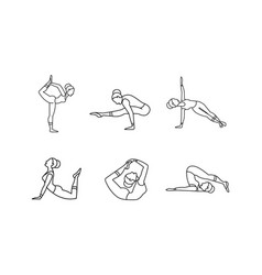 yoga asanas linear icons set girl practicing yoga vector image