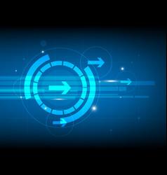 abstract blue right arrow circle digital vector image vector image