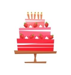 Cake with cream berries vector image
