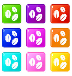 Coffee beans icons 9 set vector