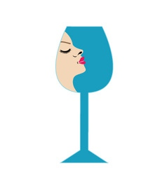 Pretty lady in a glass- beverage business logo vector image vector image