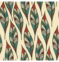 seamless Pattern with bright feathers vector image