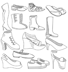 Shoes coloring book vector image vector image