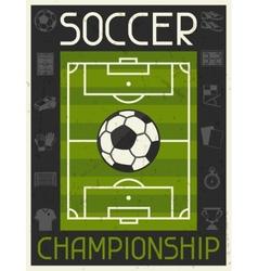 Soccer Championship Retro poster in flat design vector image
