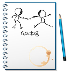 A notebook with a sketch of two people fencing vector image