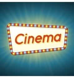 Cinema 3d retro light banner with shining bulbs vector image