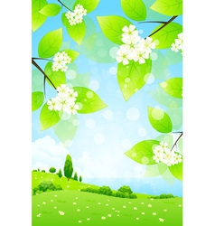 Landscape with Tree Branch vector image vector image