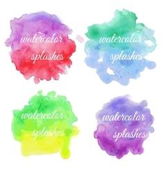 Set of colorful brush splatters vector image