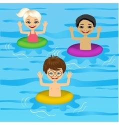 three cute little kids swimming vector image