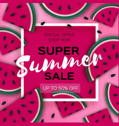 Watermelon super summer sale banner in paper cut vector