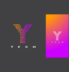 Y letter logo technology connected dots letter vector