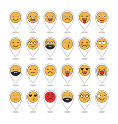 colored flat icons of emoticons smile with a vector image vector image