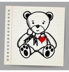 Doodle bear with heart vector image vector image
