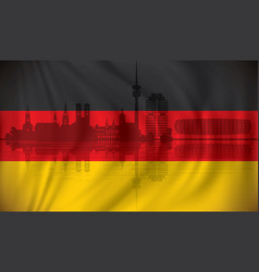 flag of germany with munich skyline vector image vector image