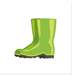 Green rubber boots isolated on white vector image