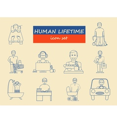How much time we have Lifetime elements Icon set vector image vector image