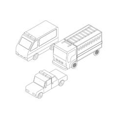 Isometric rescuers transport set vector image