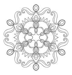 paper cutout snow flake in zentangle style mandala vector image vector image