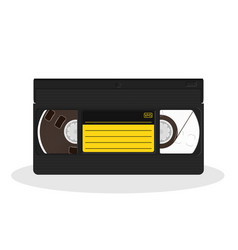 retro video cassette with black and yellow vector image vector image
