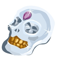 Skull of diamond with amethyst and gold teeth vector image vector image