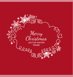 white and red snowflake frame christmas design vector image vector image