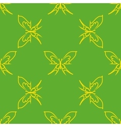 Yellow butterflies geometric seamless pattern vector image