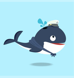 cute whale in a sailor suit cartoon vector image