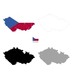 Czech Republic country black silhouette and with vector image