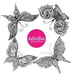 Decorative Butterflies Set vector image