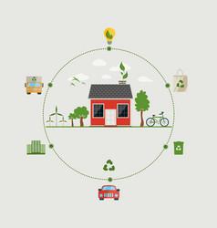 ecology concept flat design environmental icons vector image