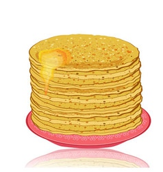 plate of pancakes and honey vector image