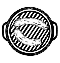 sausages grilling on barbecue engraving vector image