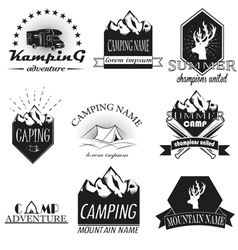 set of camping and outdoor adventure vintag vector image vector image